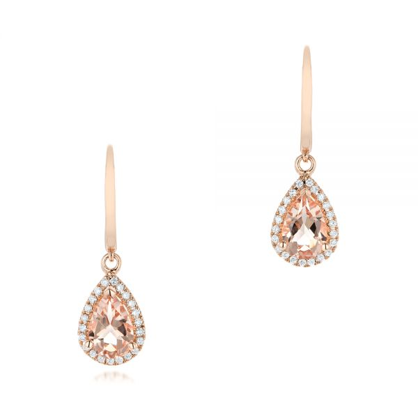 Tear Drop Morganite And Diamond Halo Earrings - Three-Quarter View -