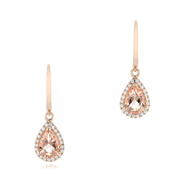 Tear Drop Morganite and Diamond Halo Earrings