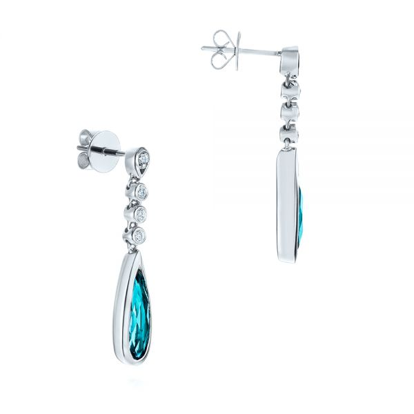 14k White Gold Teardrop Blue Topaz And Diamond Drop Earrings - Front View -  105429 - Thumbnail