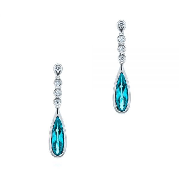 Teardrop Blue Topaz and Diamond Drop Earrings - Image