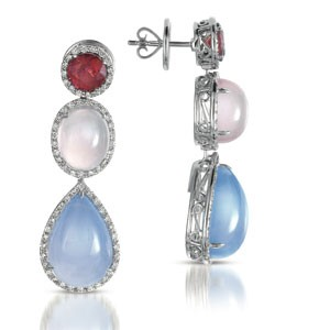 Topaz, Quartz, Opal and Diamond Earrings - Vanna K