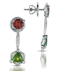 Tourmaline, Garnet and Diamond Earrings - Vanna K