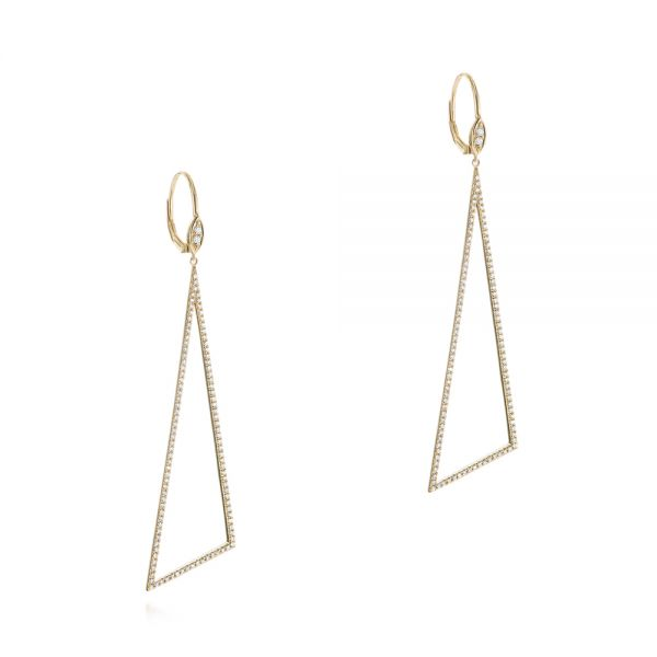 14k Yellow Gold Triangle Drop Diamond Earrings - Front View -  105288