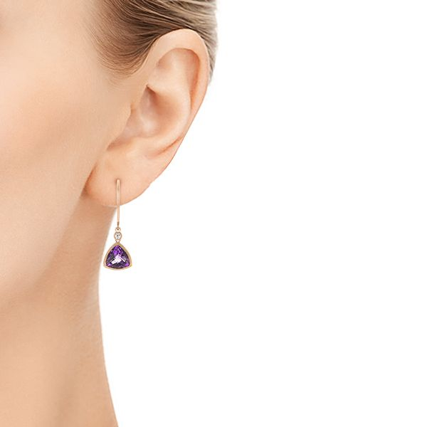 Trillion Amethyst And Diamond Drop Earrings - Hand View -