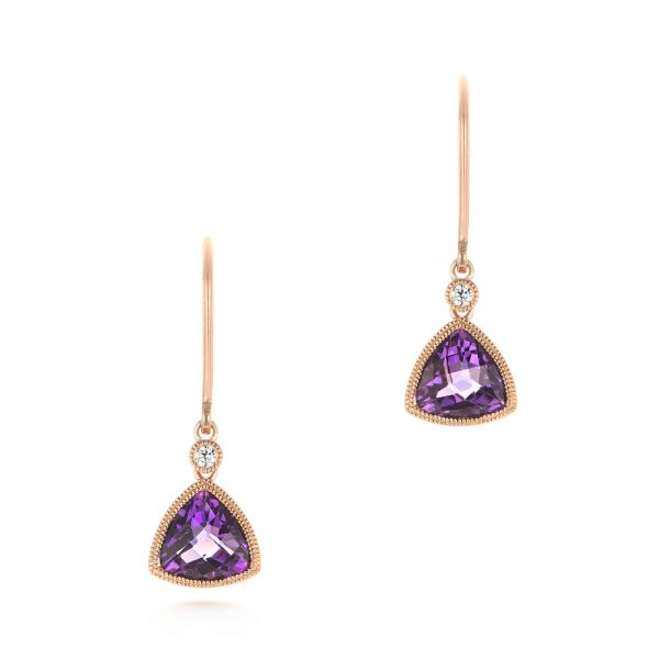 Trillion Amethyst and Diamond Drop Earrings - Image