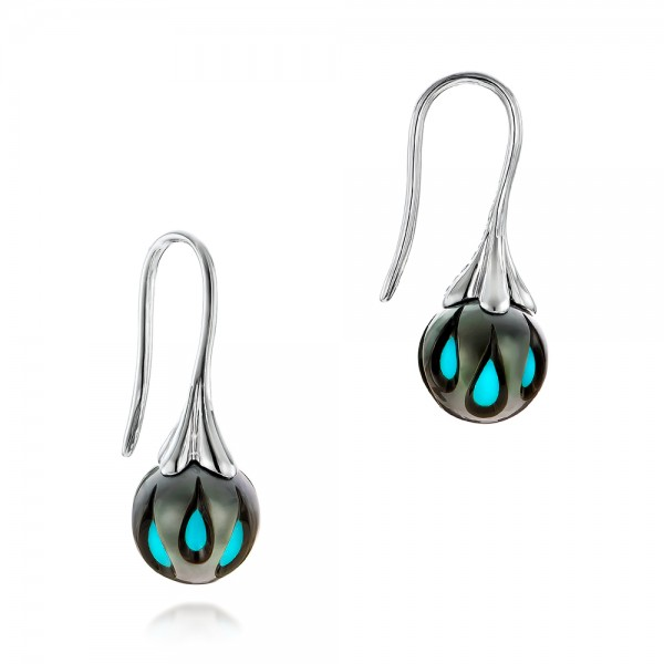 Carved Turquoise Tahitian Pearl Earrings
