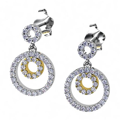 14K Gold And 14K Gold Two-tone Diamond Earrings - Three-Quarter View -  981