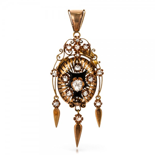 Victorian Earrings and Pendant Set - Side View -  100735 - Thumbnail