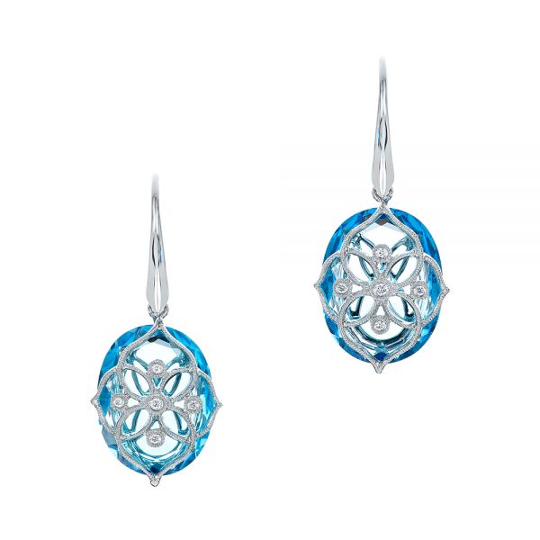 Vintage Filigree Blue Topaz and Diamond Earrings - Image