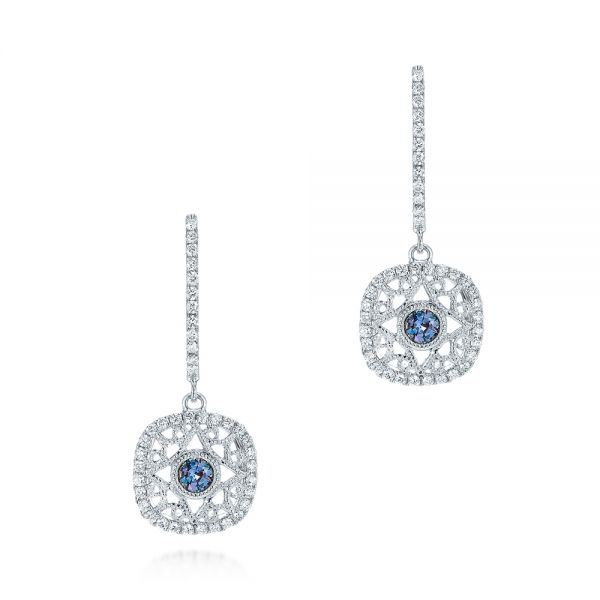Vintage-Inspired Alexandrite and Diamond Earrings - Image