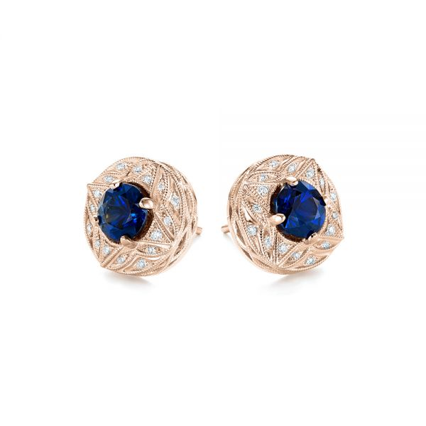 18k Rose Gold 18k Rose Gold Vintage-inspired Diamond And Blue Sapphire Earrings - Front View -  103276