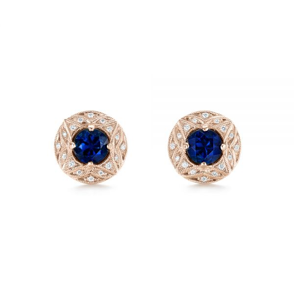 18k Rose Gold 18k Rose Gold Vintage-inspired Diamond And Blue Sapphire Earrings - Three-Quarter View -  103276