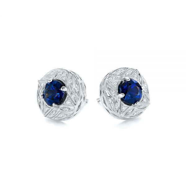 18k White Gold Vintage-inspired Diamond And Blue Sapphire Earrings - Front View -