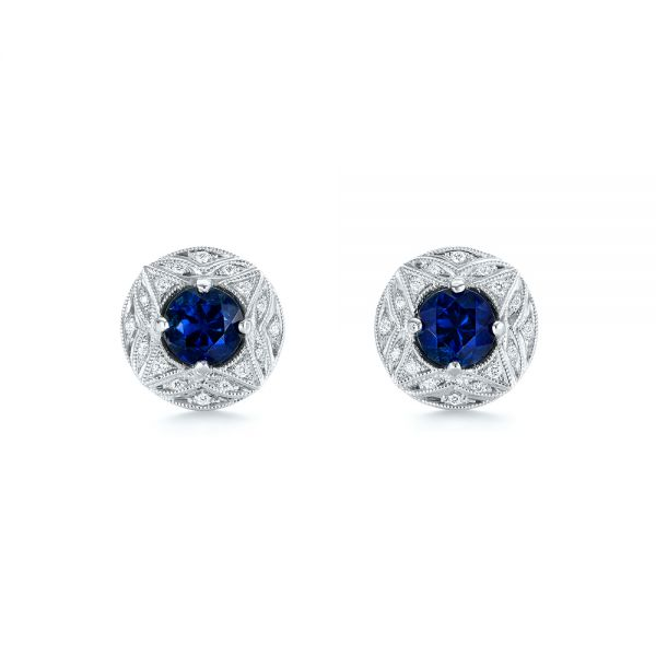 18k White Gold Vintage-inspired Diamond And Blue Sapphire Earrings - Three-Quarter View -