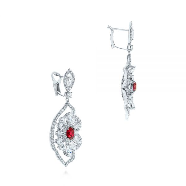 18k White Gold Vintage Starburst Ruby And Diamond Earrings - Front View -  105674 - Thumbnail
