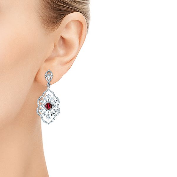 18k White Gold Vintage Starburst Ruby And Diamond Earrings - Hand View -  105674 - Thumbnail