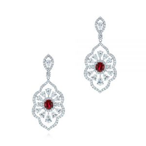Vintage Starburst Ruby and Diamond Earrings - Image