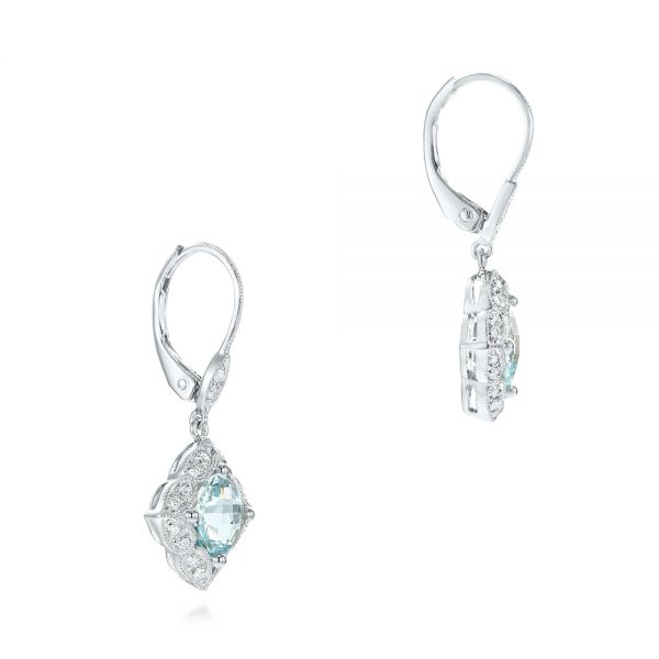 Vintage Style Aquamarine Earrings - Front View -  101750 - Thumbnail