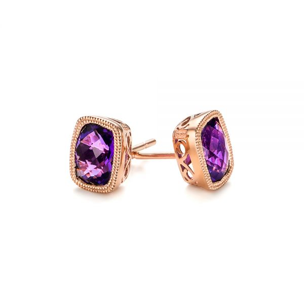 Vintage-inspired Amethyst Stud Earrings - Front View -  103500 - Thumbnail