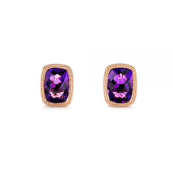 Vintage-inspired Amethyst Stud Earrings - Image