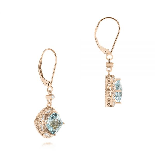 18k Rose Gold 18k Rose Gold Vintage-inspired Aquamarine And Diamond Earrings - Front View -