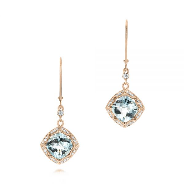 18k Rose Gold 18k Rose Gold Vintage-inspired Aquamarine And Diamond Earrings - Three-Quarter View -