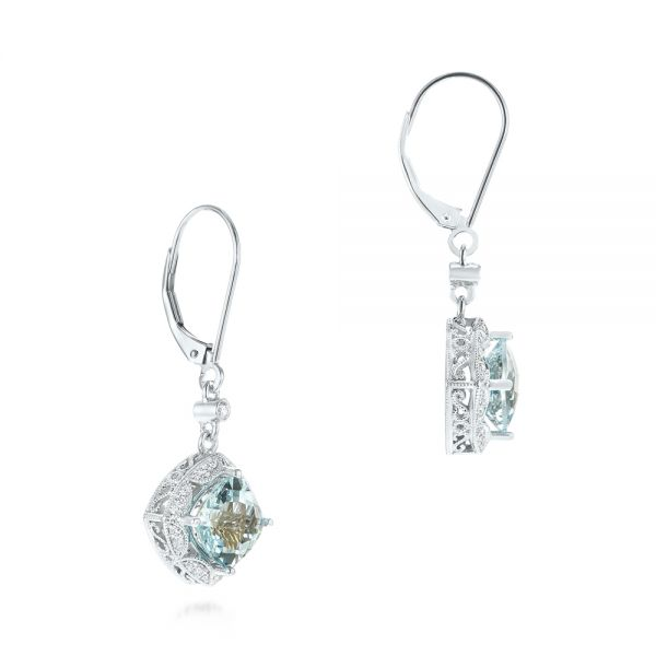 Platinum Platinum Vintage-inspired Aquamarine And Diamond Earrings - Front View -