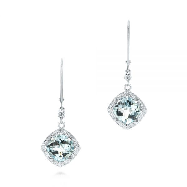 Vintage-inspired Aquamarine and Diamond Earrings - Image