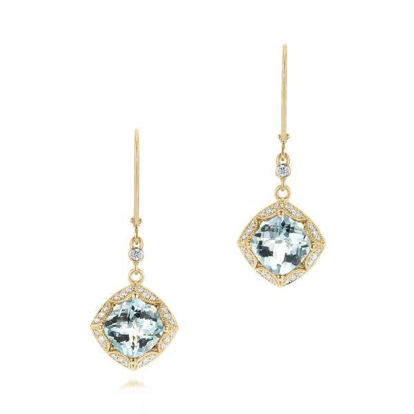 14k Yellow Gold 14k Yellow Gold Vintage-inspired Aquamarine And Diamond Earrings - Three-Quarter View -
