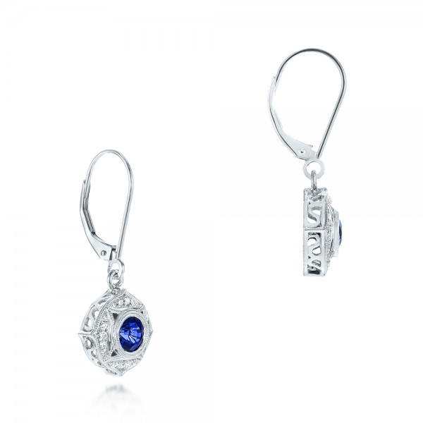 Vintage-inspired Blue Sapphire and Diamond Earrings - Laying View