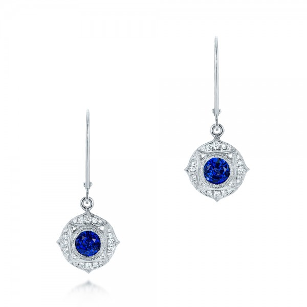 Vintage-inspired Blue Sapphire and Diamond Earrings