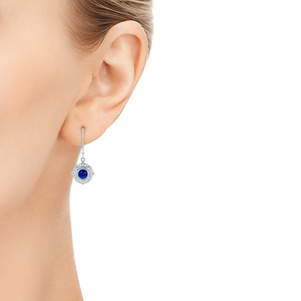 Vintage-inspired Blue Sapphire and Diamond Earrings - Model View