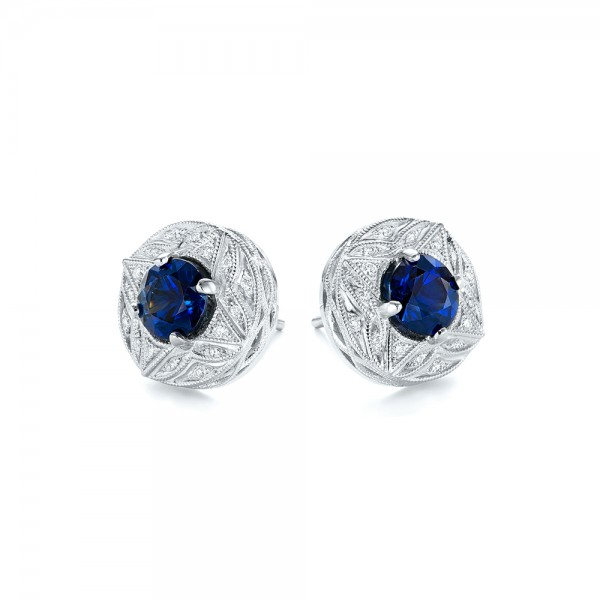 Vintage-Inspired Diamond and Blue Sapphire Earrings - Flat View -  103276 - Thumbnail