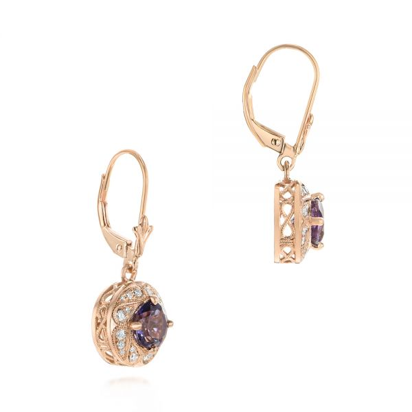 18k Rose Gold 18k Rose Gold Vintage-inspired Diamond And Iolite Drop Earrings - Front View -