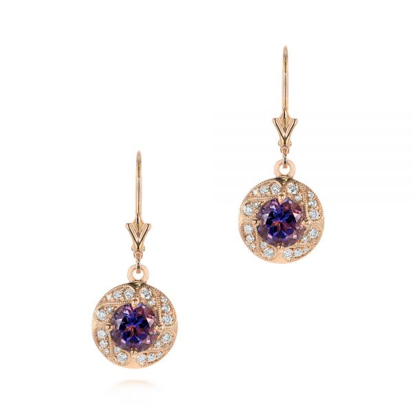 Vintage-inspired Rose Gold Diamond and Iolite Drop Earrings - Image