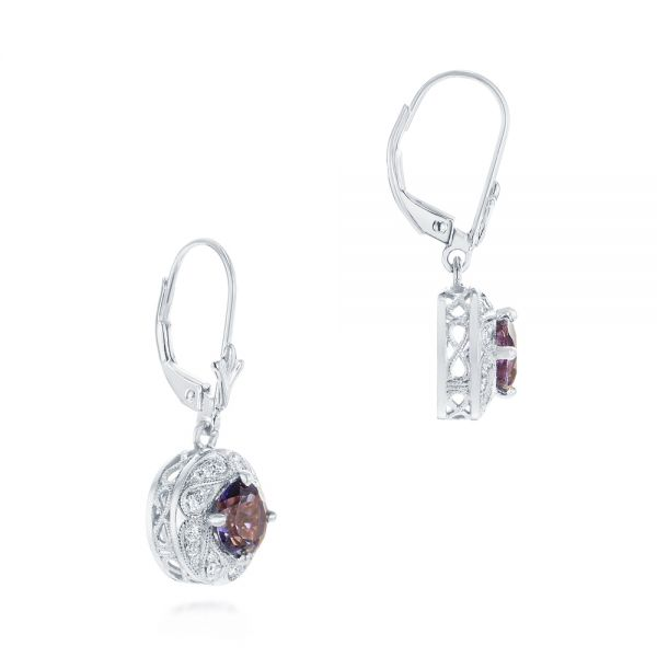 14k White Gold 14k White Gold Vintage-inspired Diamond And Iolite Drop Earrings - Front View -