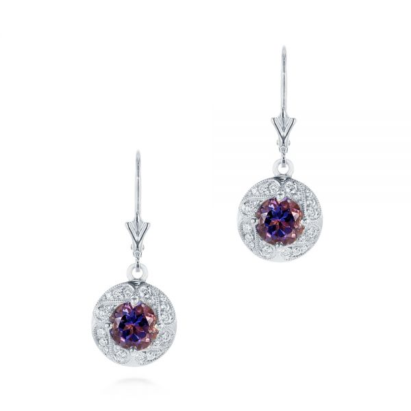 14k White Gold 14k White Gold Vintage-inspired Diamond And Iolite Drop Earrings - Three-Quarter View -