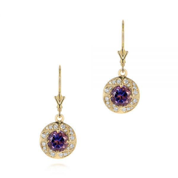 14k Yellow Gold 14k Yellow Gold Vintage-inspired Diamond And Iolite Drop Earrings - Three-Quarter View -  103747
