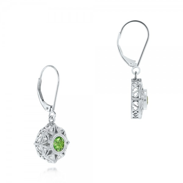 Vintage-inspired Tsavorite and Diamond Earrings - Laying View