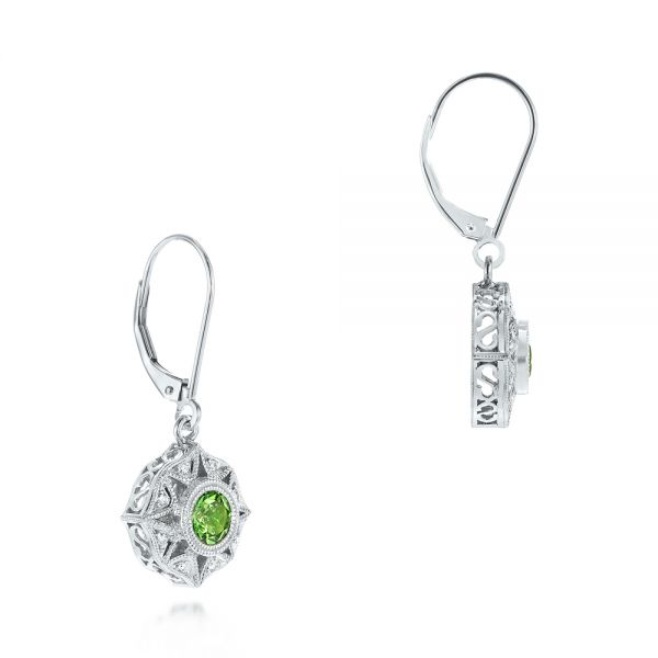 18k White Gold Vintage-inspired Tsavorite And Diamond Earrings - Front View -