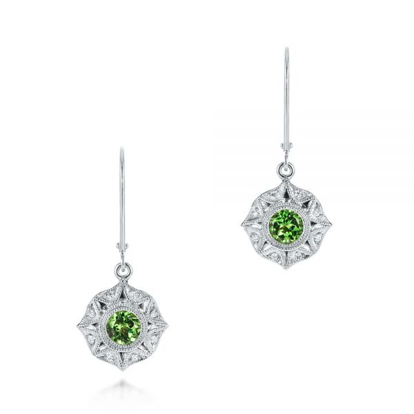 Vintage-inspired Tsavorite and Diamond Earrings - Image