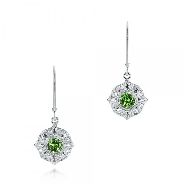 Vintage-inspired Tsavorite and Diamond Earrings