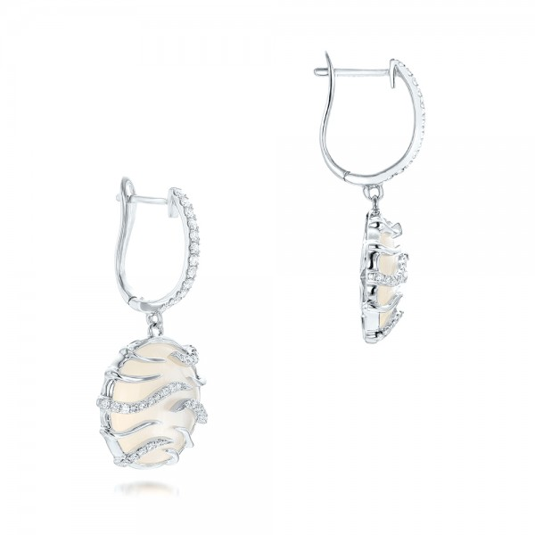 White Mother of Pearl and Diamonds Mini Luna Earrings - Laying View