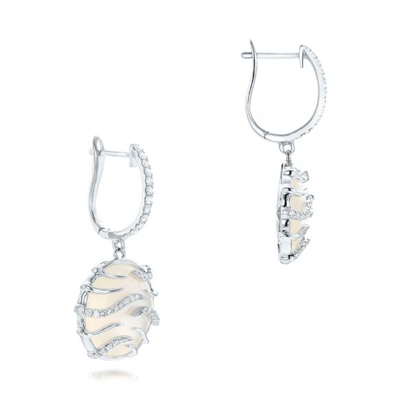 14k White Gold White Mother Of Pearl And Diamonds Mini Luna Earrings - Front View -  102494