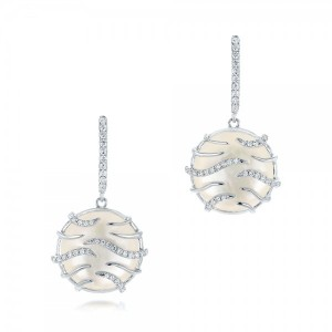 White Mother of Pearl and Diamonds Mini Luna Earrings