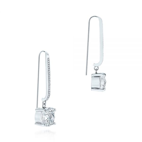 14k White Gold White Topaz And Diamond Earrings - Front View -  105846