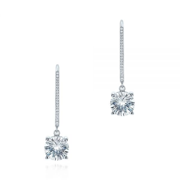 White Topaz and Diamond Earrings - Image