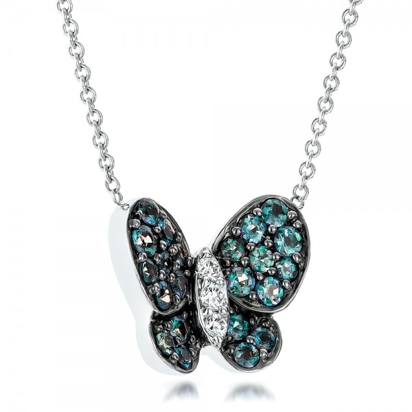 Alexandrite and Diamond Butterfly Pendant - Laying View