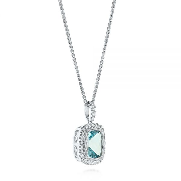 Aquamarine And Diamond Halo Pendant - Front View -
