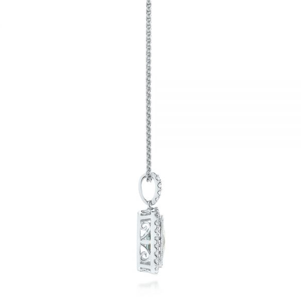 Aquamarine And Diamond Halo Pendant - Side View -